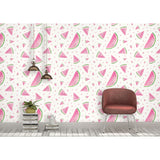 Self Adhesive Hand Drawn Watermelon Kitchen Fun Removable Wallpaper WW042