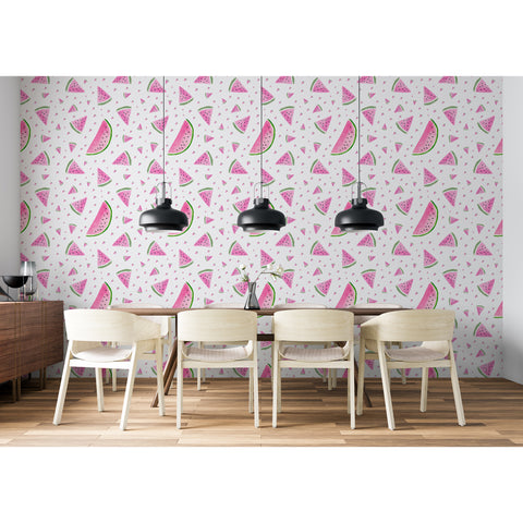 Watermelon Kitchen Fun Fresh Fruit Pattern Kitchen Backsplash Peel and Stick Self Adhesive Hand Drawn Removable Wallpaper WW042