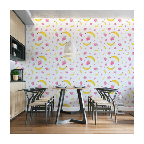 Self Adhesive Hand Drawn Banana Strawberry Kitchen Fun Removable Wallpaper WW043