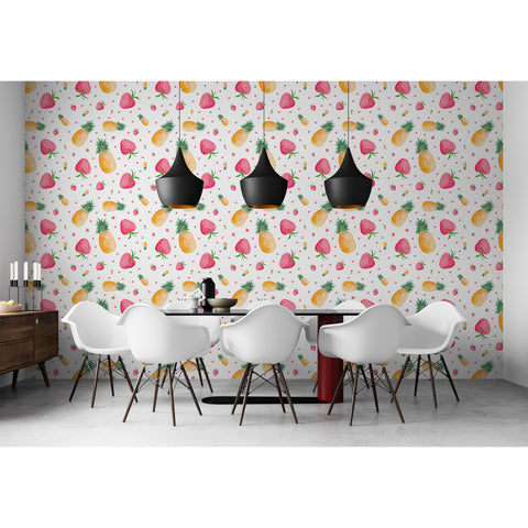 Self Adhesive Hand Drawn Pineapple Strawberry Kitchen Fun Removable Wallpaper WW044