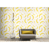 Banana Kitchen Fun Fruit Food Kitsch Yellow White Fresh Fruit Self Adhesive Hand Drawn Modern Custom Removable Wallpaper WW045