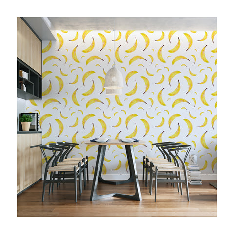 Self Adhesive Hand Drawn Banana Kitchen Fun Removable Wallpaper WW045