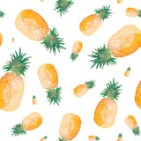 Pineapple Orange Green Kitchen Fun Fresh Fruit Kitchen Design Tropical Coastal Self Adhesive Hand Drawn Removable Wallpaper WW047