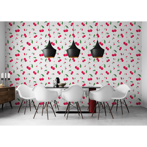 Self Adhesive Hand Drawn Cherry Kitchen Fun Removable Wallpaper WW048