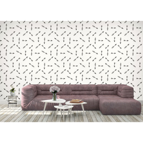 Magical Black Arrows Indians Cowboy Minimalistic Abstract Direction Self Adhesive Hand Drawn Removable Wallpaper WW004