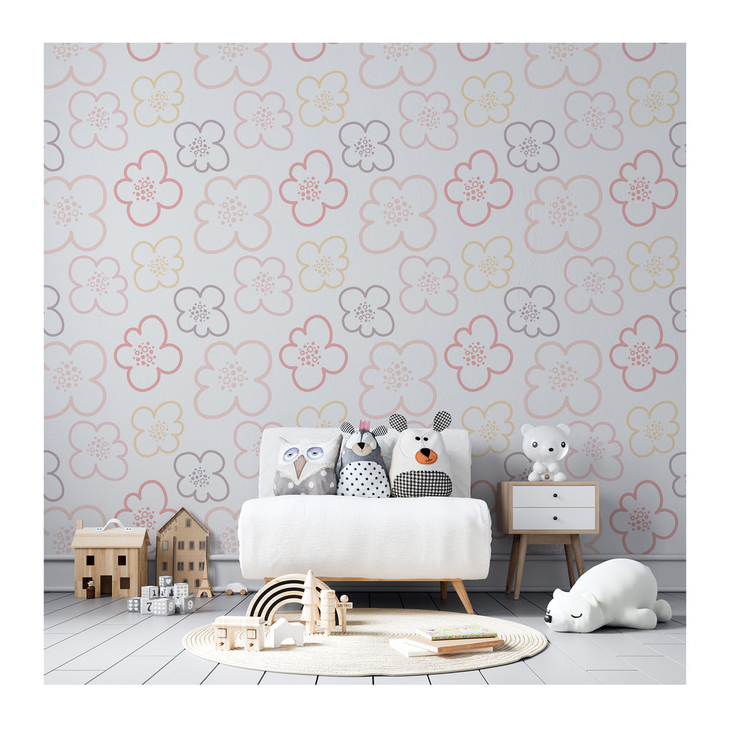 Flower Power Life Colorful Watercolor Neutral Minimalistic Pattern Self Adhesive Hand Drawn Removable Wallpaper WW051