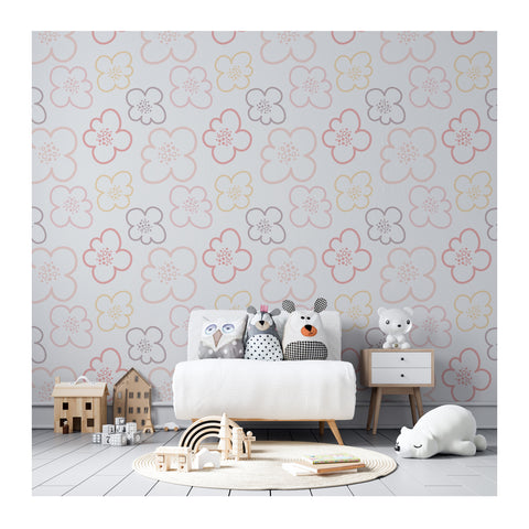 Self Adhesive Hand Drawn Flower Power Life Boy Girl Removable Wallpaper WW051