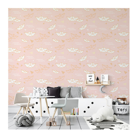 Self Adhesive Hand Drawn Paper Boat Boy Girl Removable Wallpaper WW052