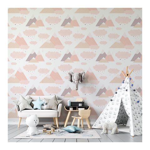 Self Adhesive Hand Drawn Mountain Cloud Boy Girl Removable Wallpaper WW053