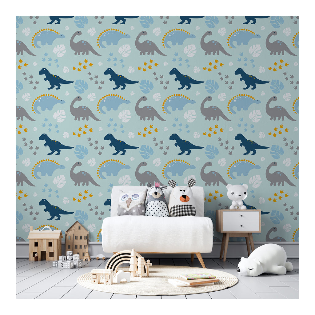 Dinosaurs Blue Boy Paws Leaf Leaves Wall Mural Animals Theme Coastal Bohemian Confetti Self Adhesive Hand Drawn Removable Wallpaper WW055