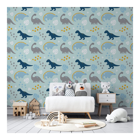Self Adhesive Hand Drawn Dinosaurs Blue Boy Removable Wallpaper WW055