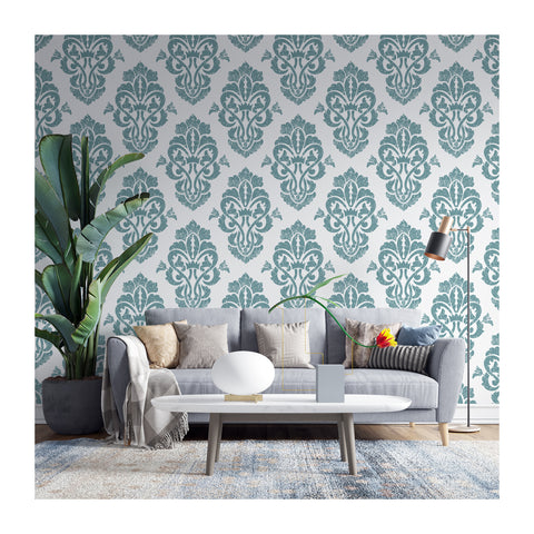 Wessex Blue Lord King Damask Barolo Testino Peel and Stick Square Geometric MIrror Self Adhesive Hand Drawn Removable Wallpaper WW056