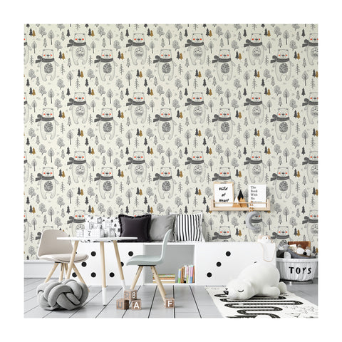 Self Adhesive Hand Drawn Pines and Bears Removable Wallpaper WW057