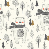 Pines and Bears Animals Theme Pine Tree Forest Modern Pattern Seamless Peelable Self Adhesive Hand Drawn Removable Wallpaper WW057