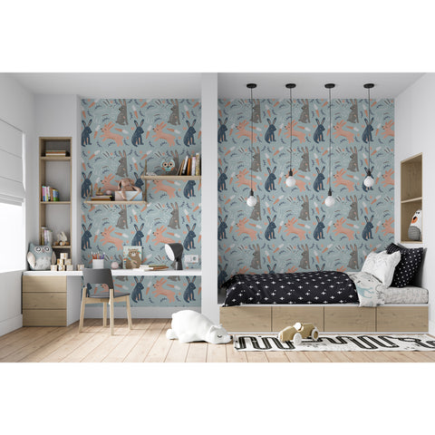 Self Adhesive Hand Drawn Blue Rabbit Removable Wallpaper WW058