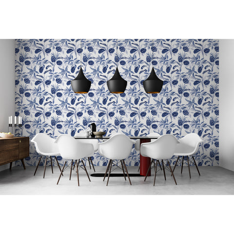 Self Adhesive Hand Drawn Blue Tree Leaves Removable Wallpaper WW059
