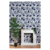 Blue Tree Leaves Botanical Forest Realistic Mural Self Adhesive Hand Drawn Traditional Coastal Pattern Removable Wallpaper WW059