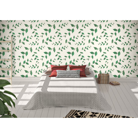 Self Adhesive Hand Drawn Magic Green Leaves Removable Wallpaper WW005