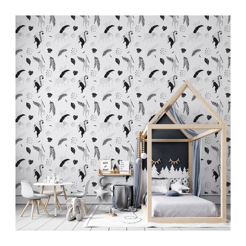 Self Adhesive Hand Drawn Australia Fauna Lemur Removable Wallpaper WW060
