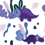 Blue Triceratops Dinosaur Wall Mural Seamless Grid Minimalistic Contemporary Coverings Self Adhesive Hand Drawn Removable Wallpaper WW061