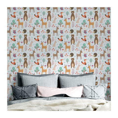 Self Adhesive Hand Drawn Reno and Bears Removable Wallpaper WW062
