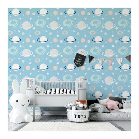 Self Adhesive Hand Drawn Saturn Blue Universe Removable Wallpaper WW063