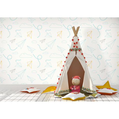 Self Adhesive Hand Drawn Paper Plane Removable Wallpaper WW064
