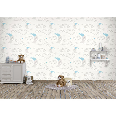 Self Adhesive Hand Drawn Sleepy Moon and Fluffy Clouds Removable Wallpaper WW065