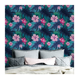 Vibrant Flowers Clouds Coastal Botanical Seamless Grid Contemporary Confetti Bouquet Self Adhesive Hand Drawn Removable Wallpaper WW066
