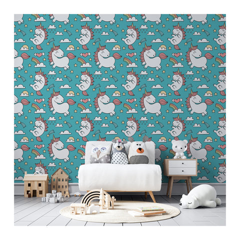 Self Adhesive Hand Drawn Flying Unicorns Stars Clouds Removable Wallpaper WW067