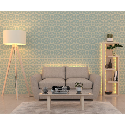 Bohemian Chevron Geometric Pattern Blue Rectangular Leaf Minimalistic Self Adhesive Hand Drawn Modern Removable Wallpaper WW069