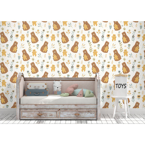 Self Adhesive Hand Drawn Mommy and Baby Bear Brown Removable Wallpaper WW070