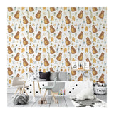 Kids Mommy Nursery and Baby Bear Flowers Animal Brown Wild Gift Self Adhesive Hand Drawn Removable Wallpaper WW070