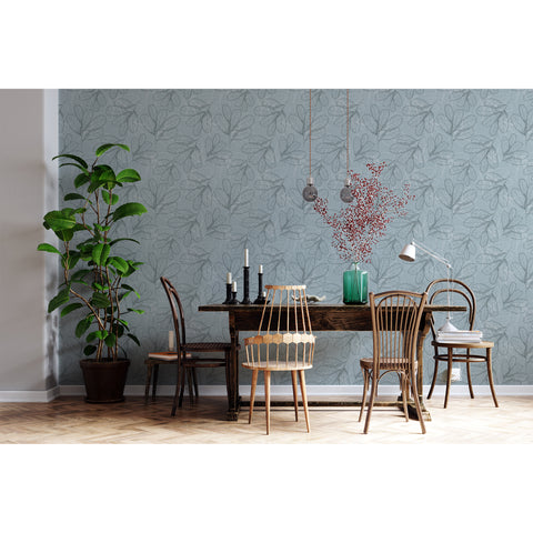 Blue Jungle Botanical Exotic Celeste Flower Leaf Leaves Light Eco Self Adhesive Hand Drawn Removable Wallpaper WW071