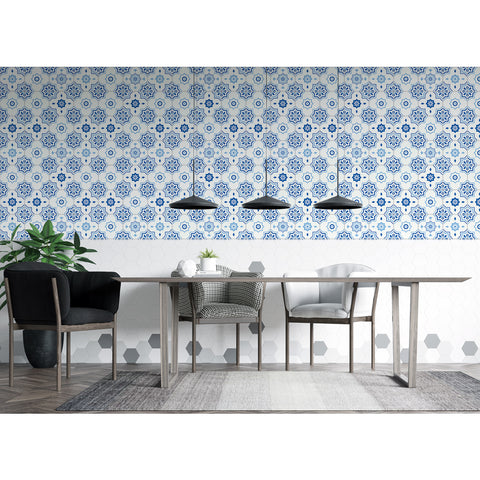 Self Adhesive Hand Drawn Blue Venice Post Roman Removable Wallpaper WW072