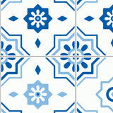 Blue Moroccan Geometric Mandala Ethnic Abstract Vintage Mosaic Post Mediterranean Self Adhesive Hand Drawn Removable Wallpaper WW072