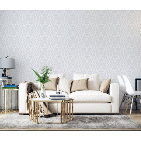 Grey Diamond Flowerelle Harlequin Diamond Triangle Square Leaves Trench Seamless Grid Self Adhesive Hand Drawn Removable Wallpaper WW077