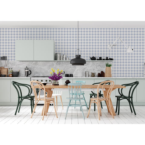 Italian Roman Square Blue Modern Minimalistic Geometric Testino Self Adhesive Hand Drawn Peel and Stick Removable Wallpaper WW079
