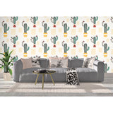 Self Adhesive Hand Drawn Raw Cactus Land Removable Wallpaper WW008
