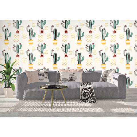 Raw Cactus Desert Lizard Sand Storm Coyote Mexico Habitat Bushes Land Self Adhesive Hand Drawn Removable Wallpaper WW008