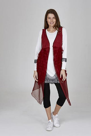 Womens vests W191607 red
