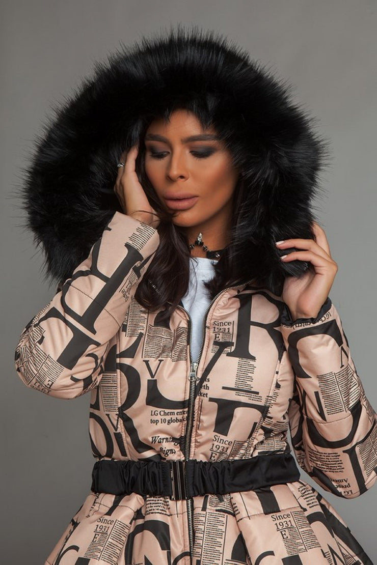 Flared Jacket with Faux Fur Hood NIKOLE 5306