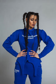 Edgy Two Piece Cotton Tracksuit in Royal Blue Sport Set