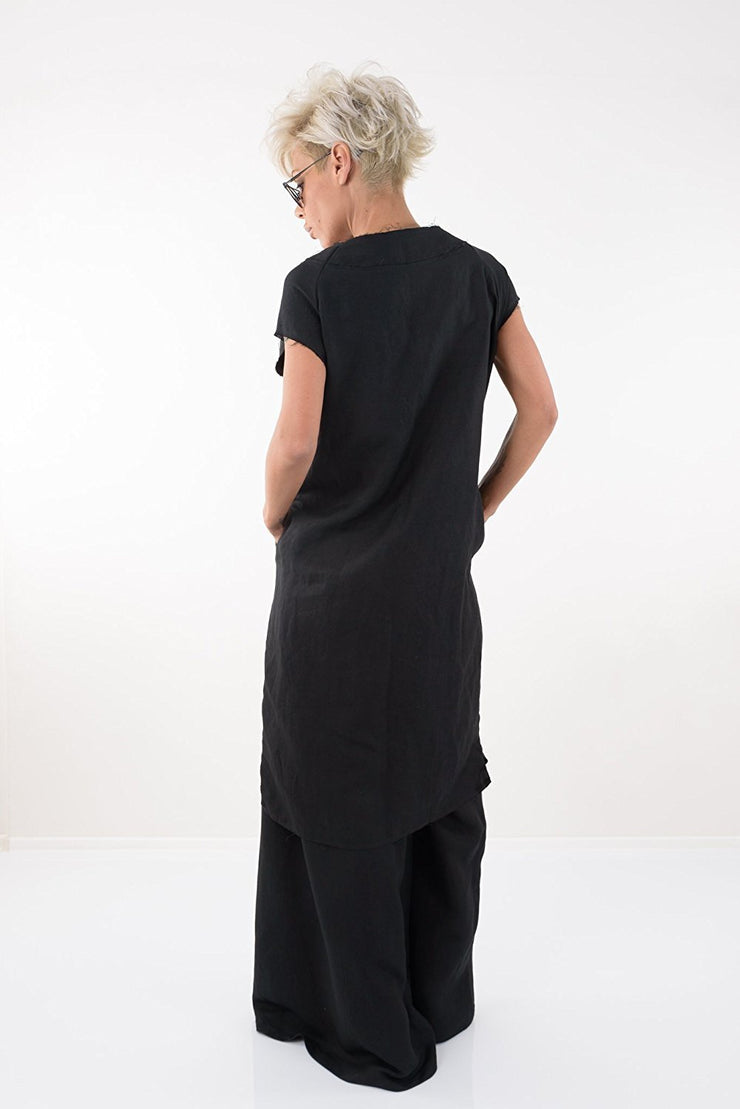 Black Long Linen Tunic Dress - Clothes By Locker Room