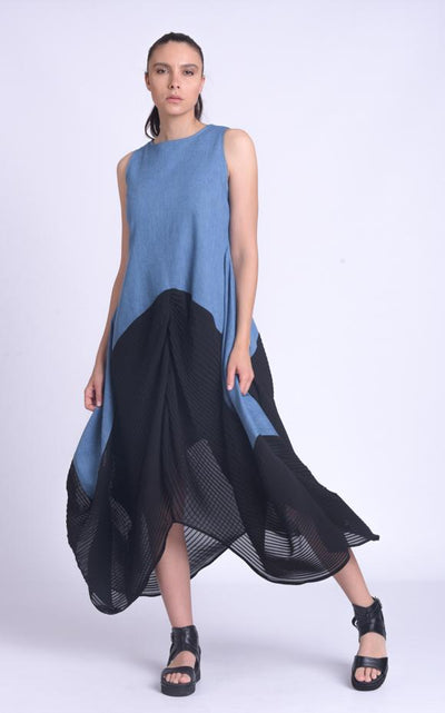 Black and Denim Sleeveless Dress METD0156 - Metamorphoza