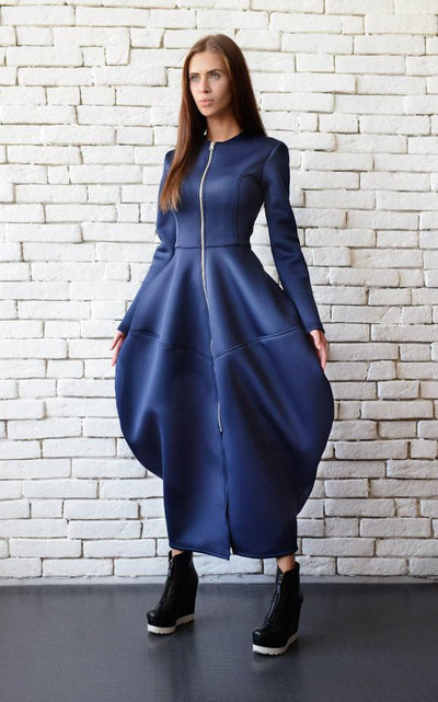 Dark Blue Maxi Dress Coat with Zipper METD0070 - Metamorphoza