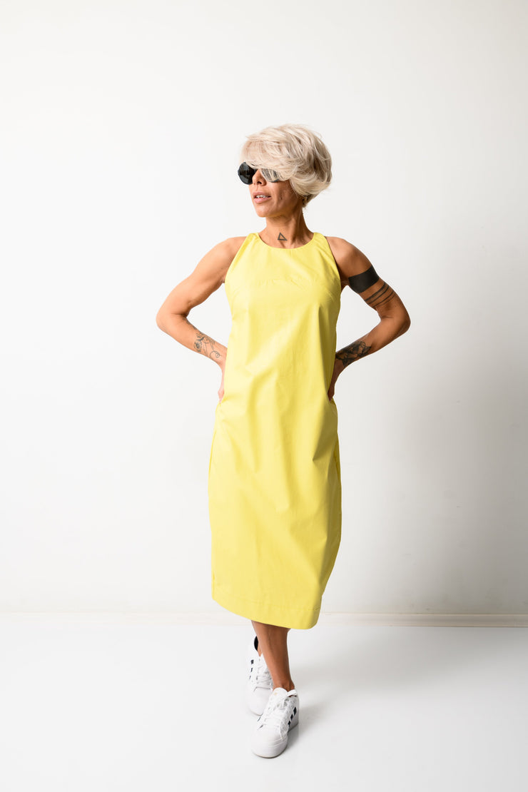 Clothes By Locker Room - Yellow Leatherette Midi Women Dress