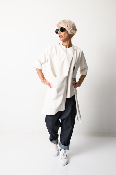 Clothes By Locker Room - White Leatherette Oversized Trench Coat