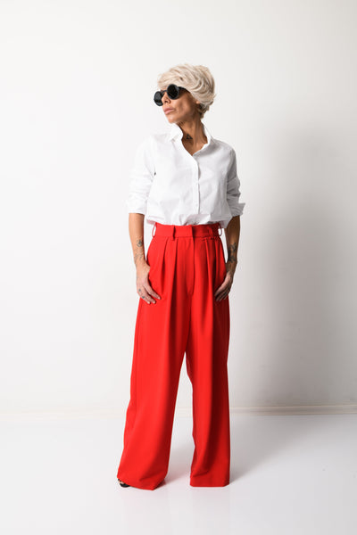 Clothes By Locker Room - Red Paperbag Wide Leg Pants with Pockets