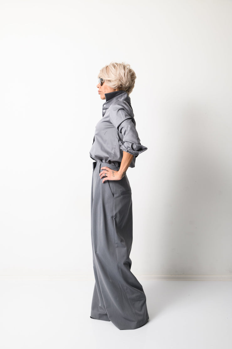 Clothes By Locker Room - Grey Paperbag Wide Leg Pants with Pockets